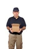 Courier retenant un cadre ouvert photo stock