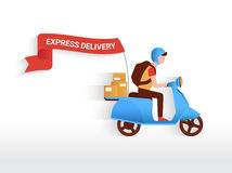 Courier. Riding blue motorbike with red flag to deliver mails to the clients Royalty Free Stock Photography