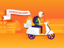 Courier. Riding white motorbike to deliver mails to the clients Royalty Free Stock Photo
