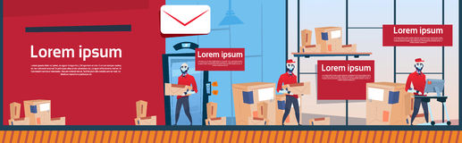 Courier Robots Carry Boxes Delivery Package Post Service Warehouse Interior Banner Copy Space. Flat Vector Illustration Stock Images