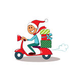 Courier on scooter. Christmas Delivery service. Royalty Free Stock Photo