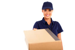 Courier service woman Stock Photo