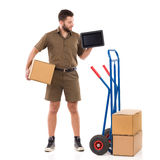 Courier showing schedule Royalty Free Stock Images