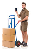 Courier showing a smart phone Stock Photo