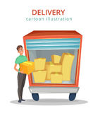 The courier stands near the truck with cargo inside. Delivery service. Cartoon vector illustration. Royalty Free Stock Photo