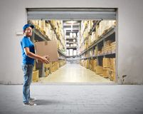 Courier. To work in the warehouse logistics Stock Photography