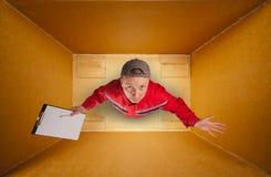 Courier triste de courrier à l'intérieur de cadre vide photos libres de droits