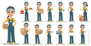 Courier woman set. Professional fast delivery. Cute cartoon character. Vector illustration vector illustration