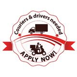 We are Hiring, Couriers and drivers wanted - printable stamp. Couriers and drivers wanted, Job Openings, We are Hiring - business label / ribbon. Print colors Royalty Free Stock Photos