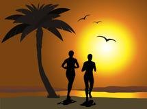 Courir sur la plage Image stock