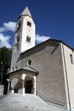 Courmayeur. A view on San Pantaleo church in the middle of Courmayeur .Aoste Italy Stock Image
