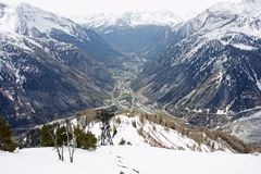 Courmayeur from the cableway above Stock Images