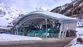 COURMAYEUR, ITALY - MARCH 7, 2018: The cable railway to Monte Bi stock photos
