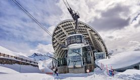 COURMAYEUR, ITALY - MARCH 7, 2018: The cable railway to Monte Bi stock photo