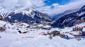 COURMAYEUR, ITALY - MARCH 7, 2018: Ski areas on 7 March 2018 in stock image