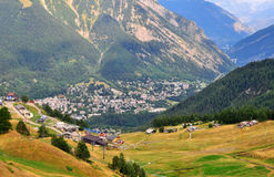 Courmayeur, Italy. Top view of Courmayeur town, Italy Royalty Free Stock Image