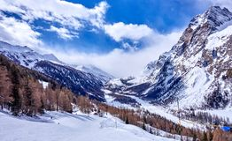 Courmayeur Italy is a very popular ski resort in Europe Royalty Free Stock Photography