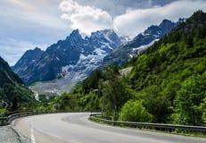 Courmayeur Mont Blanc峰顶 图库摄影
