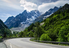 Courmayeur Mont Blanc alza Fotografia Stock
