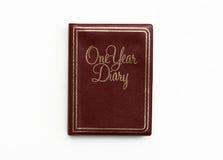 Couro de Brown um livro de nota do diário do ano Foto de Stock Royalty Free