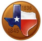 Couro do mapa da bandeira do estado de Texas Fotos de Stock Royalty Free