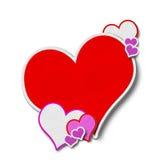Couro dos corações e revestimento costurado Imagem de Stock