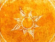 Couro velho com a flor pintada na superfície Imagem de Stock