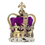 Couronne d'or anglaise avec des bijoux d'isolement sur le blanc Symbole royal de monarchie BRITANNIQUE illustration libre de droits