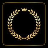 Couronne d'icône de guirlande de blé de laurier d'or illustration libre de droits
