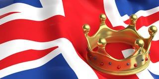 Couronne d'or sur le drapeau BRITANNIQUE illustration 3D illustration de vecteur