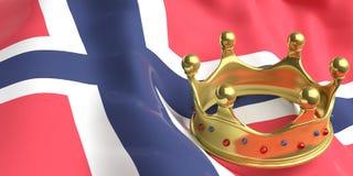 Couronne d'or sur le drapeau de la Norvège illustration 3D Photos stock
