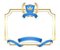 Couronne de cadre de bouclier d'icône d'or de guirlande de laurier illustration libre de droits