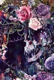 Couronne de crâne de roi de démon de peinture d'aquarelle illustration de vecteur