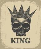 Couronne de port de crâne tiré par la main de roi illustration stock