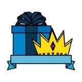 Couronne de roi avec le giftbox illustration de vecteur