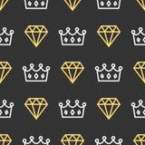 Couronne de roi et brillant sur le fond sans couture de modèle Contour royal de couronne et de diamant sur le fond noir illustration libre de droits