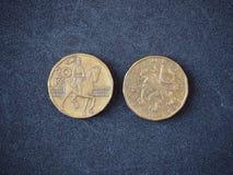 couronne 2002 de 20 Tchèques sur la vue supérieure de fond gris La devise de la République Tchèque photo libre de droits