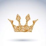 couronne Fleur-modelée de vecteur, symbole royal d'art Couronne fi de roi illustration de vecteur