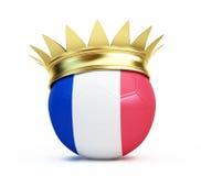 Couronne française d'or de drapeau de ballon de football Images stock
