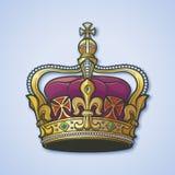 Couronne impériale britannique détaillée de haute en filigrane Élément pour le logo, l'emblème et le tatouage de conception Illus illustration de vecteur