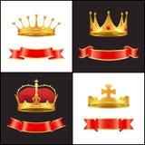 Couronne royale d'or avec le bijou et le décor rouge de rubans illustration stock