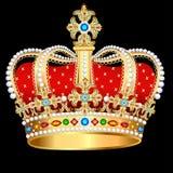 couronne royale d'or avec les pierres précieuses et les bijoux illustration de vecteur