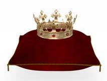 Couronne royale sur le rendu cérémonieux de l'oreiller 3d illustration de vecteur