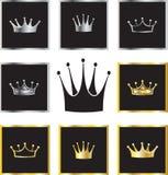 Couronnes d'or et argentées illustration libre de droits