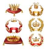 Couronnes d'icônes de vecteur et guirlandes d'or de laurier illustration stock