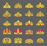 Couronnes d'or marquetées avec des rubis pour l'ensemble de redevance illustration libre de droits