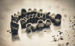 Couronnes dentaires de dent créées sur l'imprimante 3d pour le métal image stock