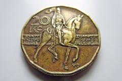 Couronnes tchèques de la pièce de monnaie 20 macro Photographie stock libre de droits