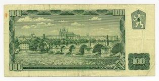 100 couronnes tchèques et x28 ; CSK& x29 ; billet de banque Images stock