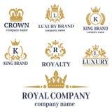 Couronnez le signe de luxe de royaume d'ornement héraldique blanc de la meilleure qualité d'insigne de vintage de roi illustration stock